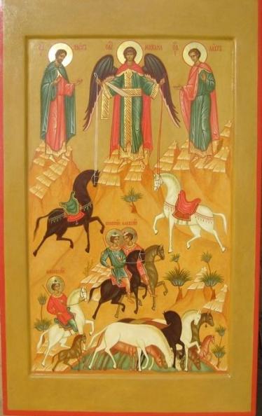 """Икона """"новгородского"""" стиля с лошадьми и букетами растений"""