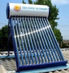 водонагреватель на крыше, простая конструкция на энергии солнца