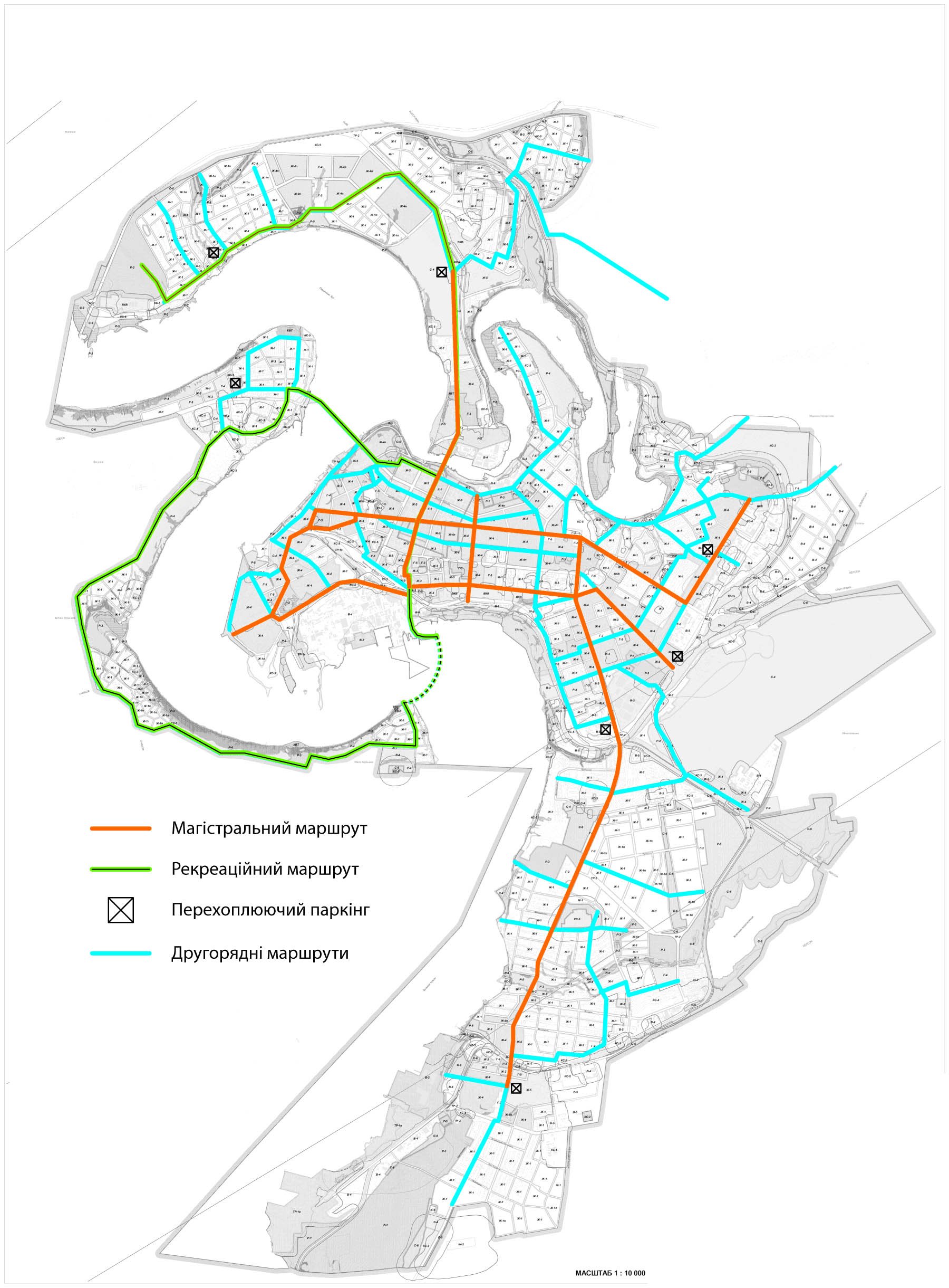 Схема велодорожек в городе Николаев, Украина