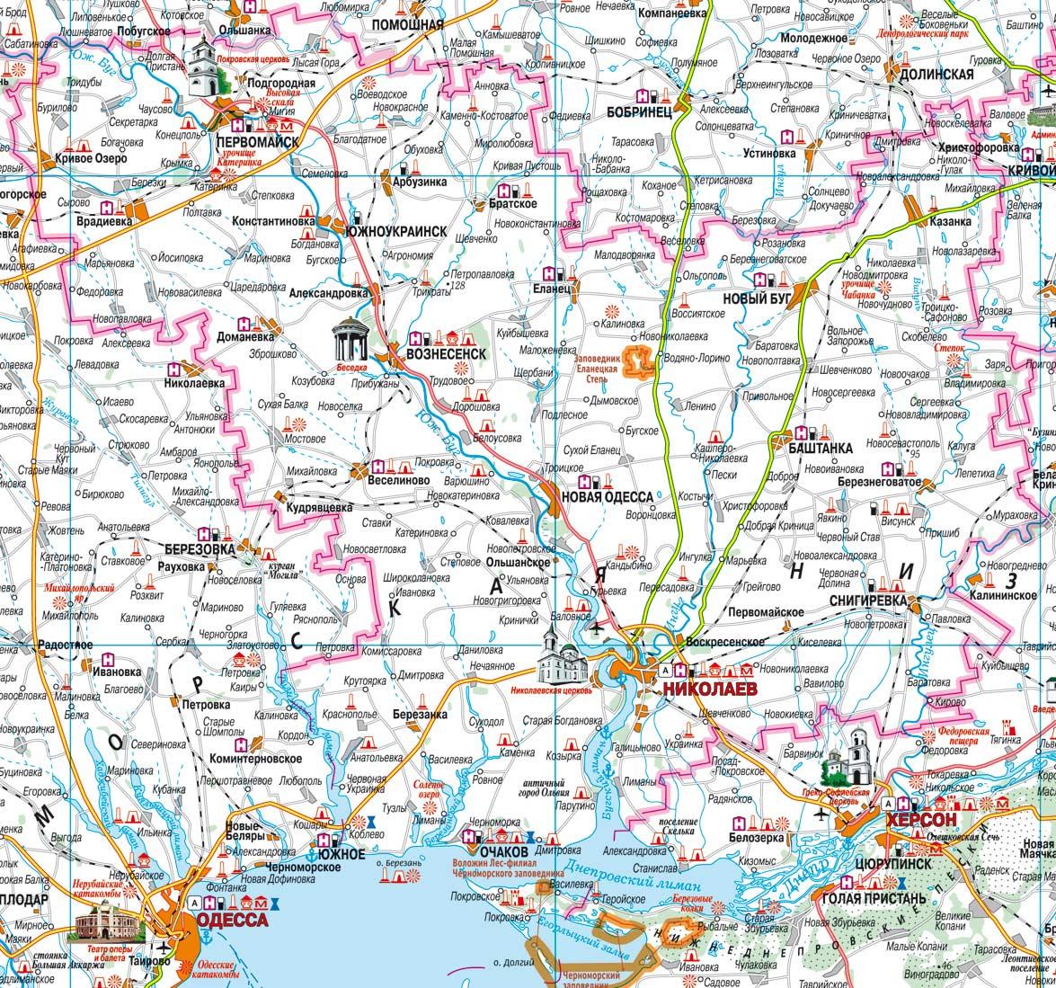 Туристические достопримечательности Николаевской области, карта