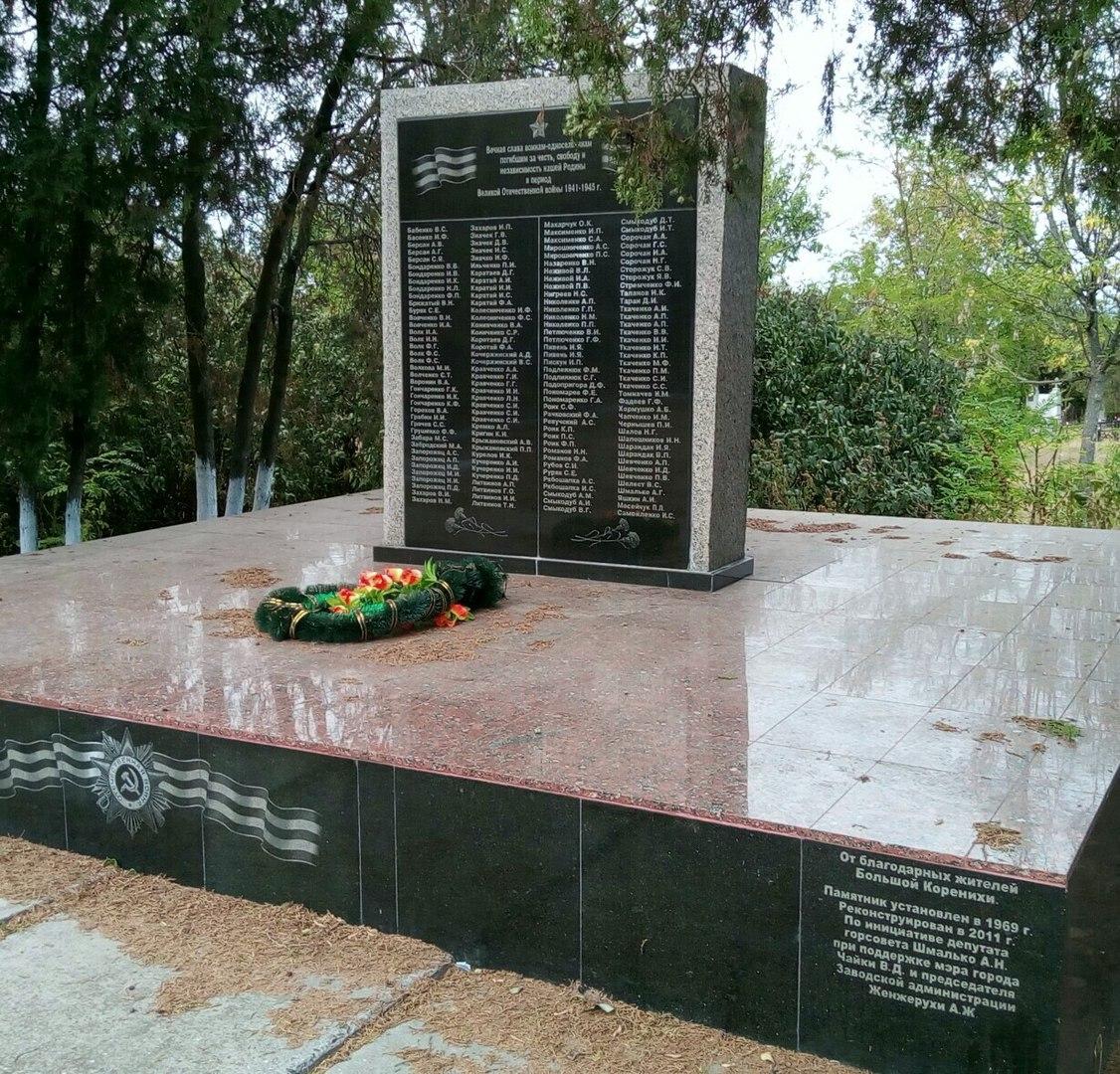 Памятник погибшим в Великой отечественной войне 1941-1945 в селе Велика Корениха