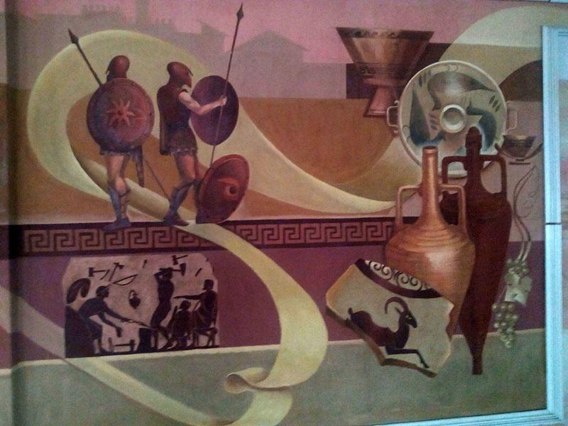 Парутино, Дворец культуры, роспись стен в зале на втором этаже_20160901_163813