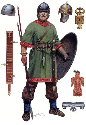 Готский воин в полном вооружении и традиционной одежде, элементы готского полихромного стиля украшений: орлиноголовая пряжка и накладка из самоцветов
