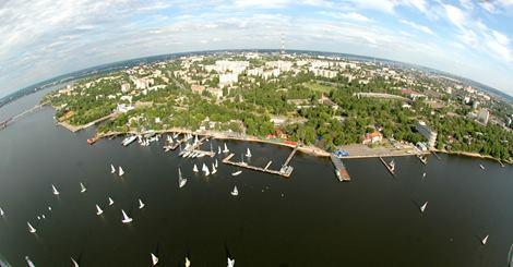 Николаев, вид на Бугский лиман и яхт-клуб с вертолета