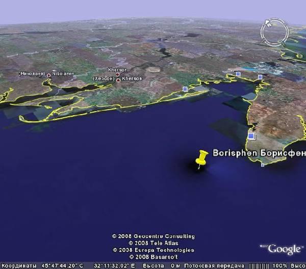 Возможное местоположение затопленного античного города Борисфен