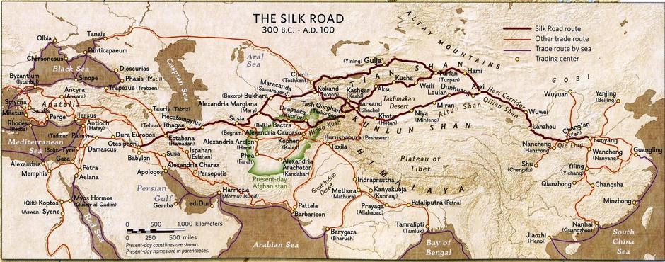Карта Великого шелкового пути и других торговых путей 300 год до н э - 100 год н э. Туризм на Новом Шелковом пути и пантуранская идея.