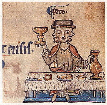 Культура средних веков унаследовала представление о вине как о священном напитке, бог Янус