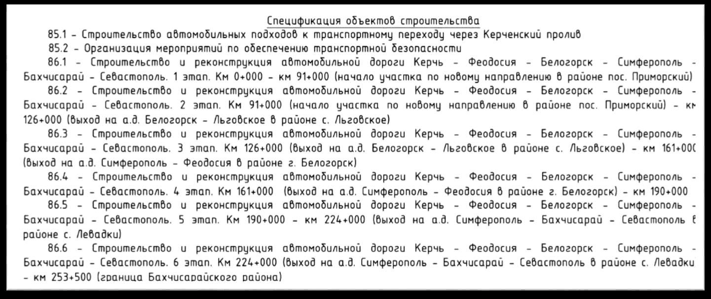 Спецификация объектов строительства федеральной трассы ТАВРИДА