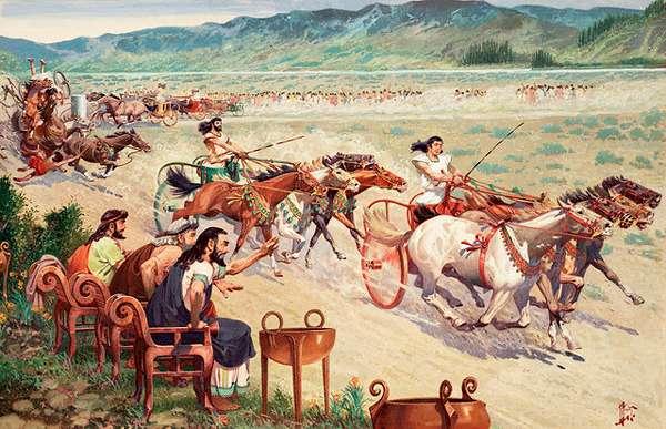 Гонки на четверках лошадей в колесницах (квадриги) на античном ипподроме