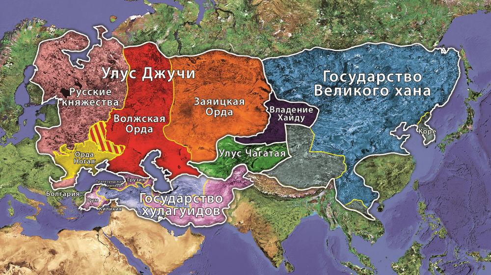 карта улусов Золотой орды и других государств Чингизидов