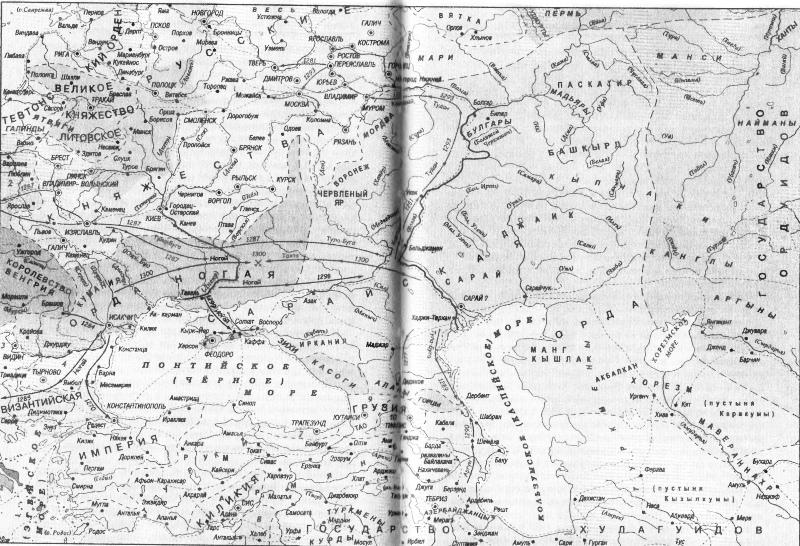 карта: Улус Ногая и соседние страны Северного Причерноморья, 13 век