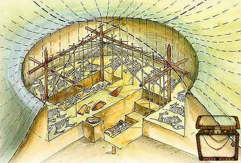 Реконструкция внутренней погребальной камеры кургана