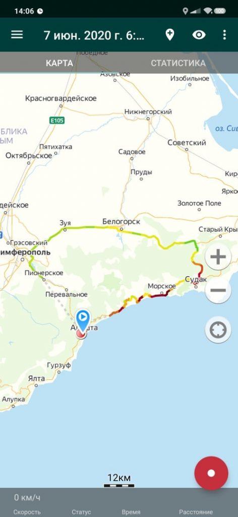 Карта кольцевого маршрута Алушта Морское Судак Симферополь Ангарский перевал Алушта