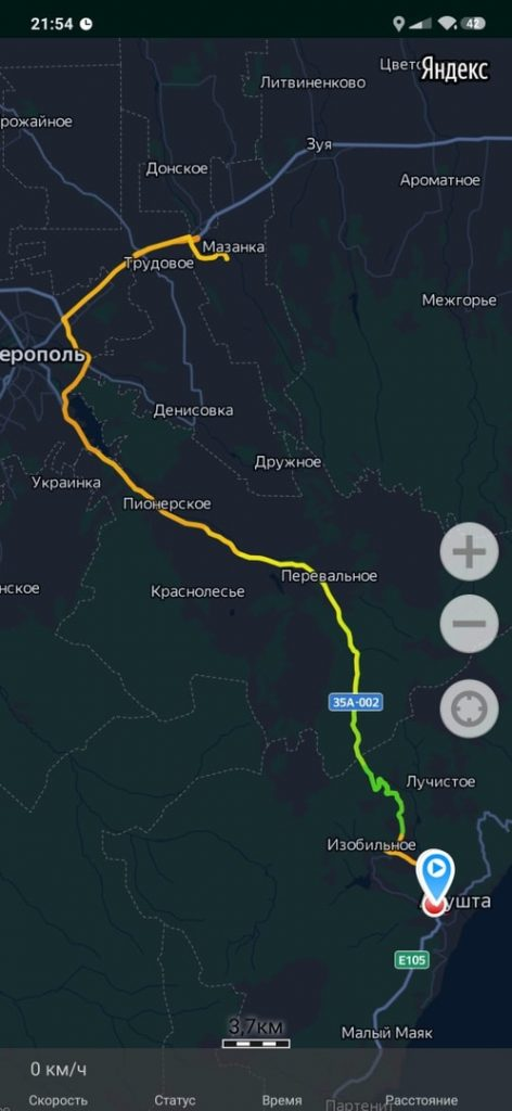 карта маршрута Алушта Ангарский перевал Симферополь Мазанка